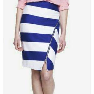 Express Blue White Stripe Asymmetrical Zip Skirt 6